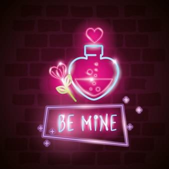 Be mine label in neon light, valentine day illustration