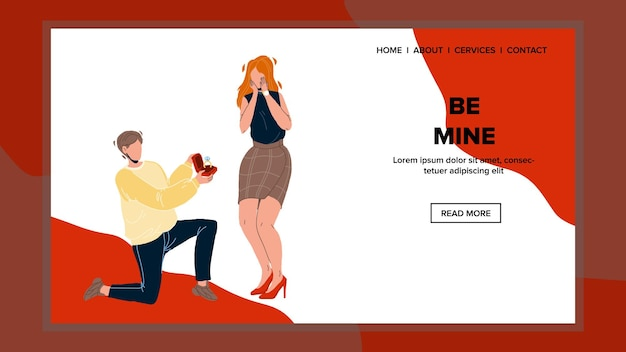 Be mine proposal boyfriend to girlfriend vector. be mine proposing and asking with jewelry golden and diamond ring young man to woman. characters relationship web flat cartoon illustration