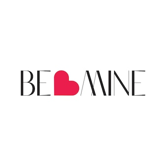Be mine typography lettering word art with minimalist concept in free vector