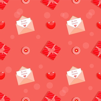 赤い色で私のバレンタインのシームレスなパターンになります。