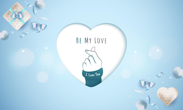 Be my love message with finger love symbol for greeting concept
