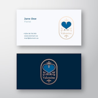 Be my valentine abstract curly heart frame label and business card template gold and blue colors gre...