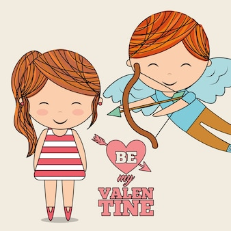 Be my valentine cute cupid and little girl