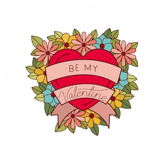 Be my valentine label isolated icon