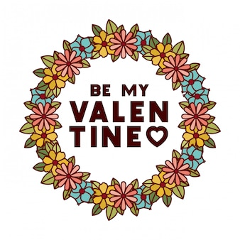 Be my valentine label with flower crown icons