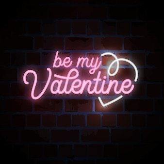 Be my valentine lettering neon sign for valentines day