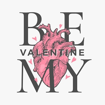 Be my valentine, lettering for valentines day card