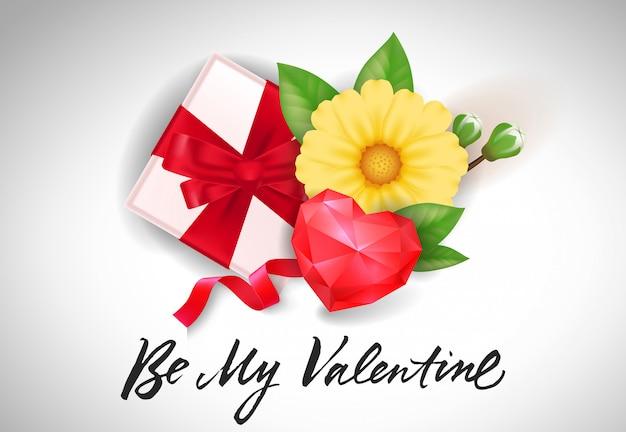 Будь мой валентин с надписью с подарком