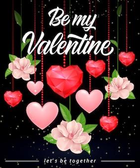 Будь моим валентина с надписью с сердечками