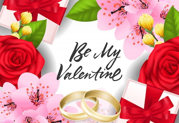Be my valentine lettering with rings