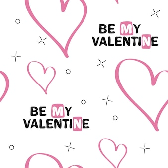 Be my valentine. original hand lettering. typography design for romantic cards or invitations for valentines day with unusual pattern on background. vector illustration.