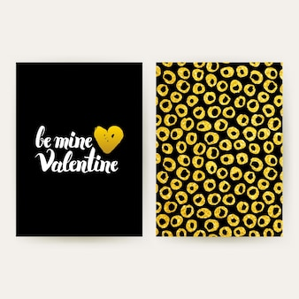 Be my valentine retro posters. vector illustration of gold pattern design with handwritten lettering.