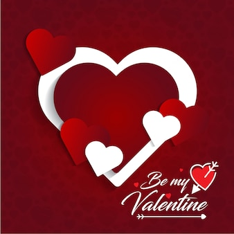 Be my valentine's card with red pattern background