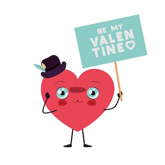Be my valentine with heart love kawaii character