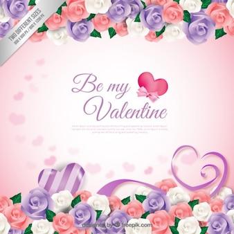 Be my valentine цветочный фон