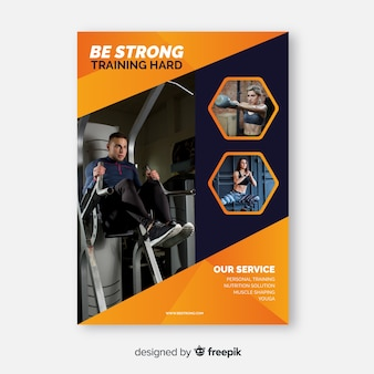 Be strong sport flyer with photo
