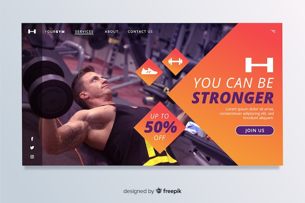 Be stronger gym promotion landing page
