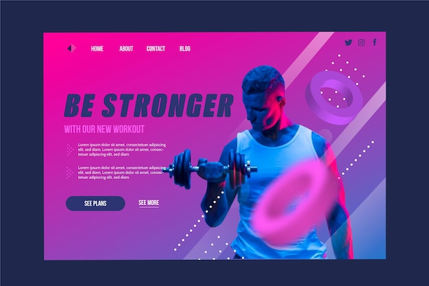 Be stronger sport landing page template