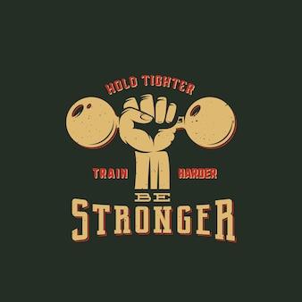 레트로 타이포그래피로 더 강한 운동 추상 상징, 라벨 또는 로고 템플릿이 되십시오. 주먹 실루엣 기호에 아령입니다.