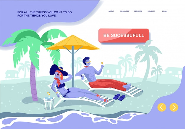 Be successful landing page. millionaire couple rest with exotic cocktails on tropical beach. cartoon married woman and man characters at sea resort. wealth and success