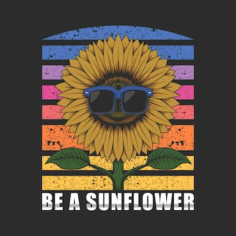 Be a sunflower with eyeglasses illustration