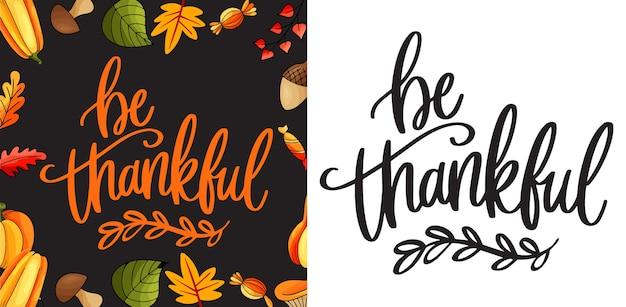 Быть благодарными. концепция счастливого благодарения с буквами. концепция благодарения с плоским дизайном Premium векторы