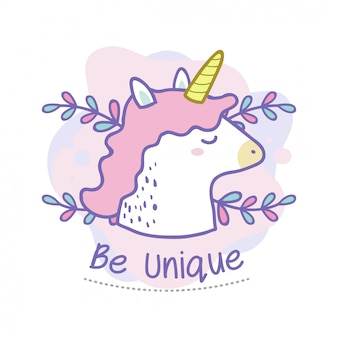 Be unique quote of cute unicorn doodle