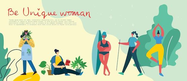 독특한 여성이 되십시오. 소녀 파워 개념, 여성 및 페미니즘 아이디어.