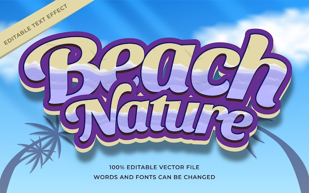 Beaach nature text effect editable for illustrator