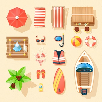 Пляжные аксессуары вид сверху коллекция икон