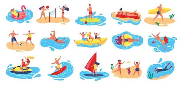 해변 활동 활동적인 남자 여자 윈드 서핑 수영 스쿠버 다이빙 여름 방학 수상 스포츠