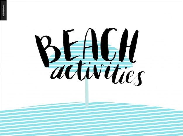 Beach activities calligraphy