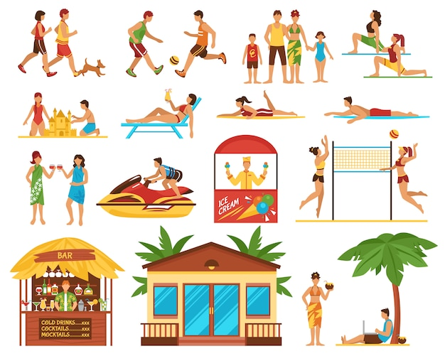 Beach activities decorative icons set