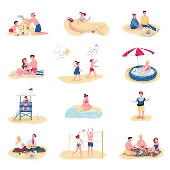 Beach activities flat color faceless characters set. summer recreation. people building sandcastle, kids swimming in inflatable pool isolated cartoon illustrations on white background