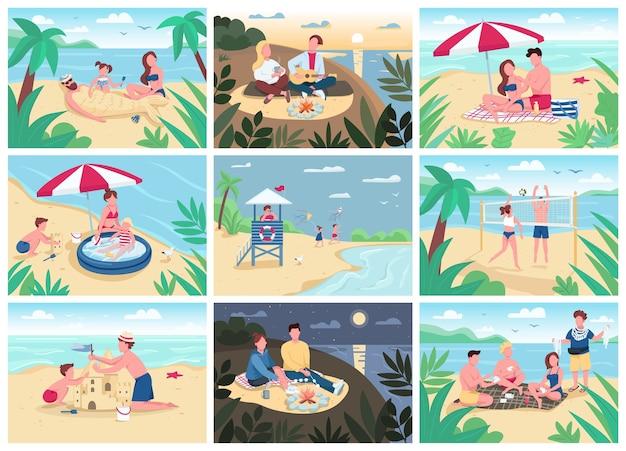 Набор плоских цветных иллюстраций пляжных мероприятий. летние каникулы для детей и взрослых. туристы загорают, играют в волейбол, строят замки из песка 2d героев мультфильмов