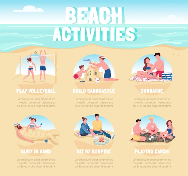 ビーチ活動フラットカラー情報インフォグラフィックテンプレート。夏のレクリエーションポスター、小冊子、漫画のキャラクターとpptページのコンセプトデザイン。広告チラシ、リーフレット、情報バナーのアイデア