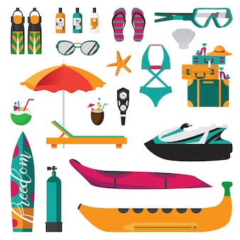 Beach activities icons set