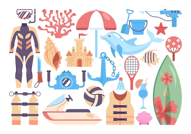 ビーチアクティビティセット。夏休みのもののコレクション。ダイビングスーツとサーフィンボード、ビーチスポーツ用品。ビーチのコンセプトでアクティブなレジャー。フラットベクトルイラスト。