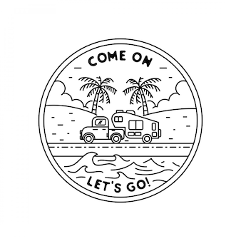 Beach adventure monoline badge