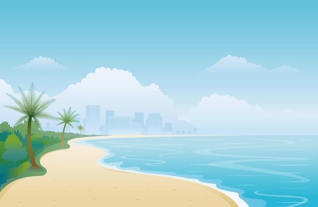 Пляж и городской пейзаж фон