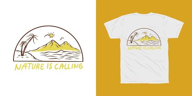 ビーチと山、自然はイラストtシャツのデザインを呼んでいます