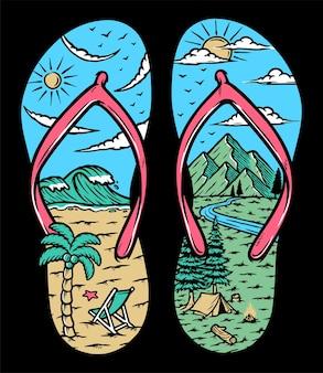 Иллюстрация пляжных и горных сандалий