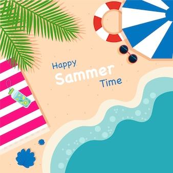 Пляж и пальмы. летний фон.
