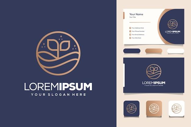 해변과 바다 모노그램 로고 디자인 명함 템플릿