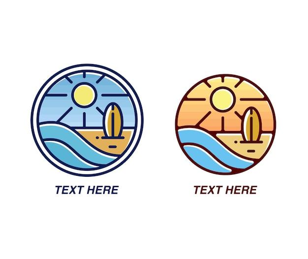 ビーチとサーフクラブのモノラインバッジのロゴ