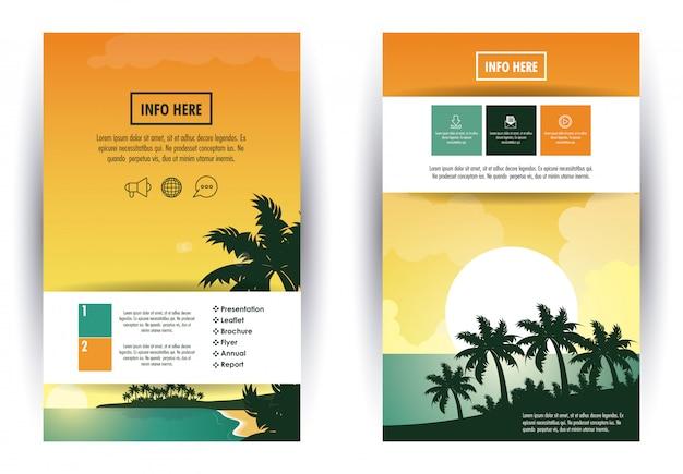 ビーチと旅行パンフレットのインフォグラフィック