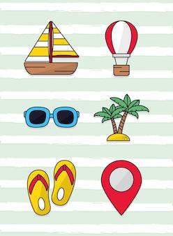 Пляж и набор иконок путешествия