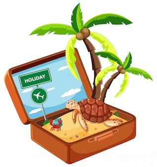 Beach animal in suitcase