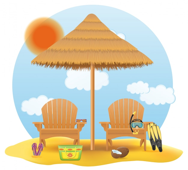 Beach armchair lounger deckchair wooden and umbrella made of straw and reed
