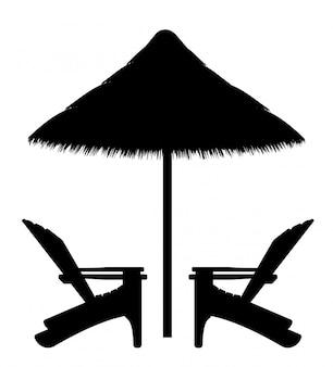 Beach armchair and umbrella black contour silhouette
